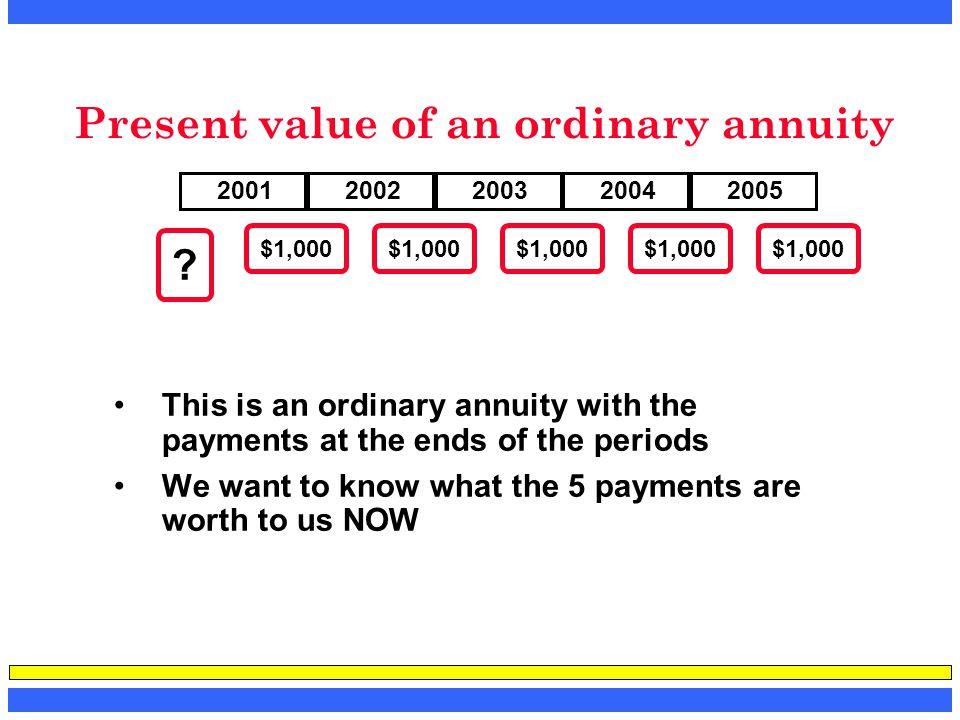 Present value of an ordinary annuity This is an ordinary annuity with the payments at the ends of the periods We want to know what the 5 payments are