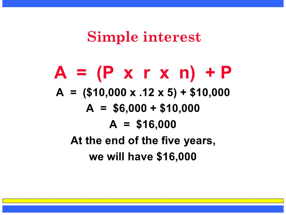 Simple interest A = (P x r x n) + P A = ($10,000 x.12 x 5) + $10,000 A = $6,000 + $10,000 A = $16,000 At the end of the five years, we will have $16,0