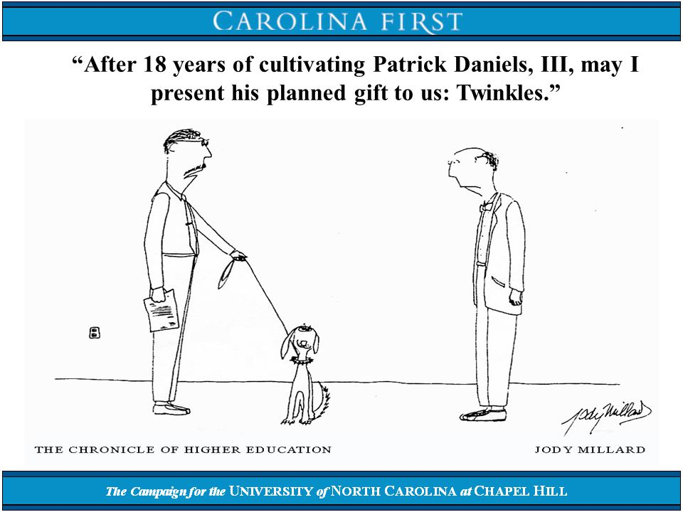 After 18 years of cultivating Patrick Daniels, III, may I present his planned gift to us: Twinkles.