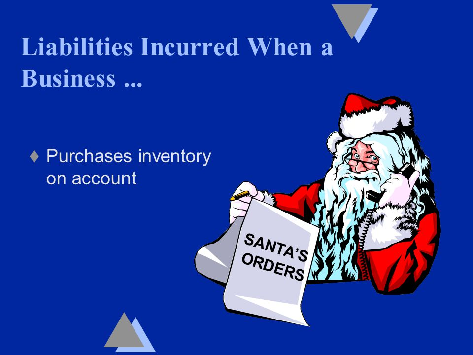 Liabilities Incurred When a Business... t Purchases inventory on account SANTA'S ORDERS