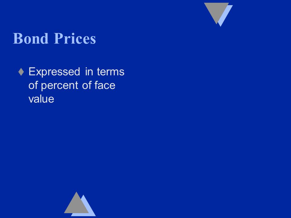 Bond Prices t Expressed in terms of percent of face value