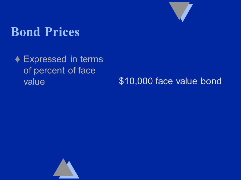 Bond Prices t Expressed in terms of percent of face value $10,000 face value bond