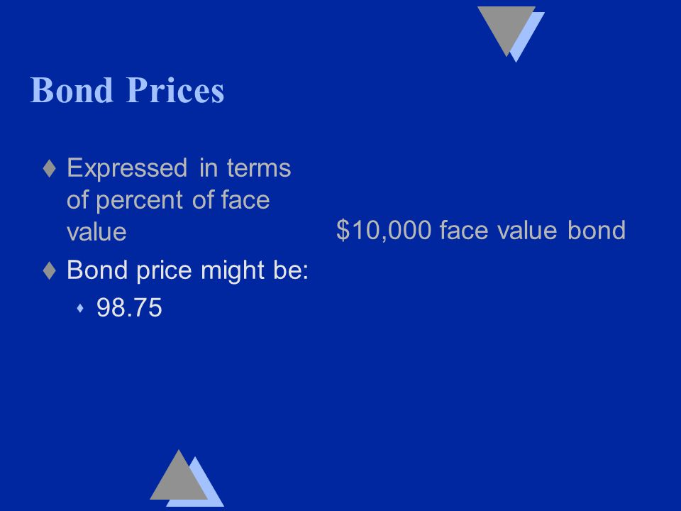 Bond Prices t Expressed in terms of percent of face value t Bond price might be: s 98.75 $10,000 face value bond