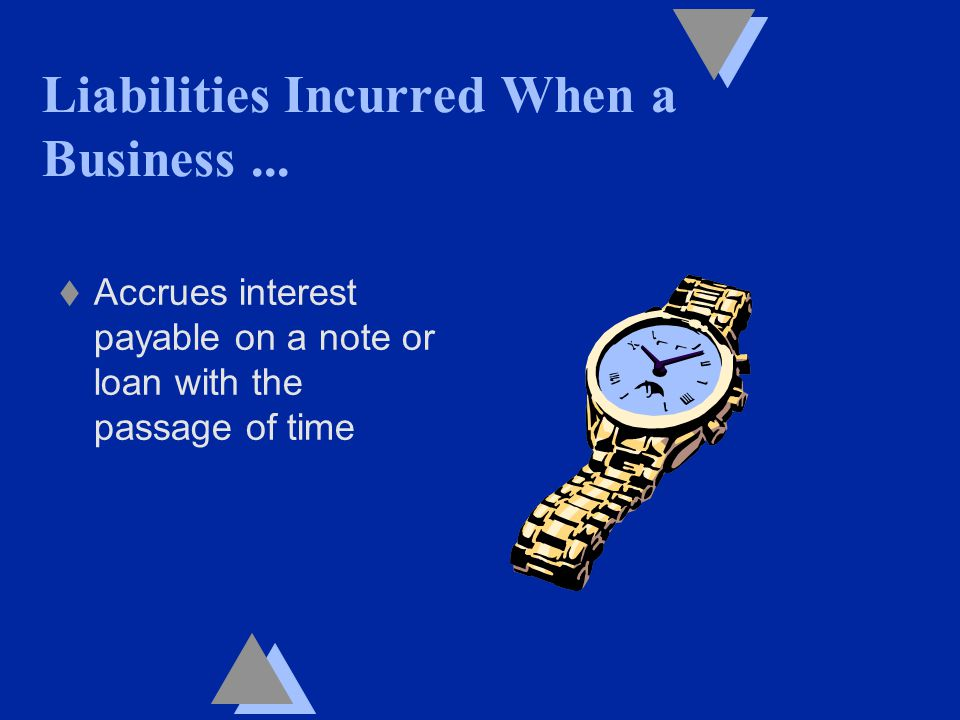 t Accrues interest payable on a note or loan with the passage of time Liabilities Incurred When a Business...
