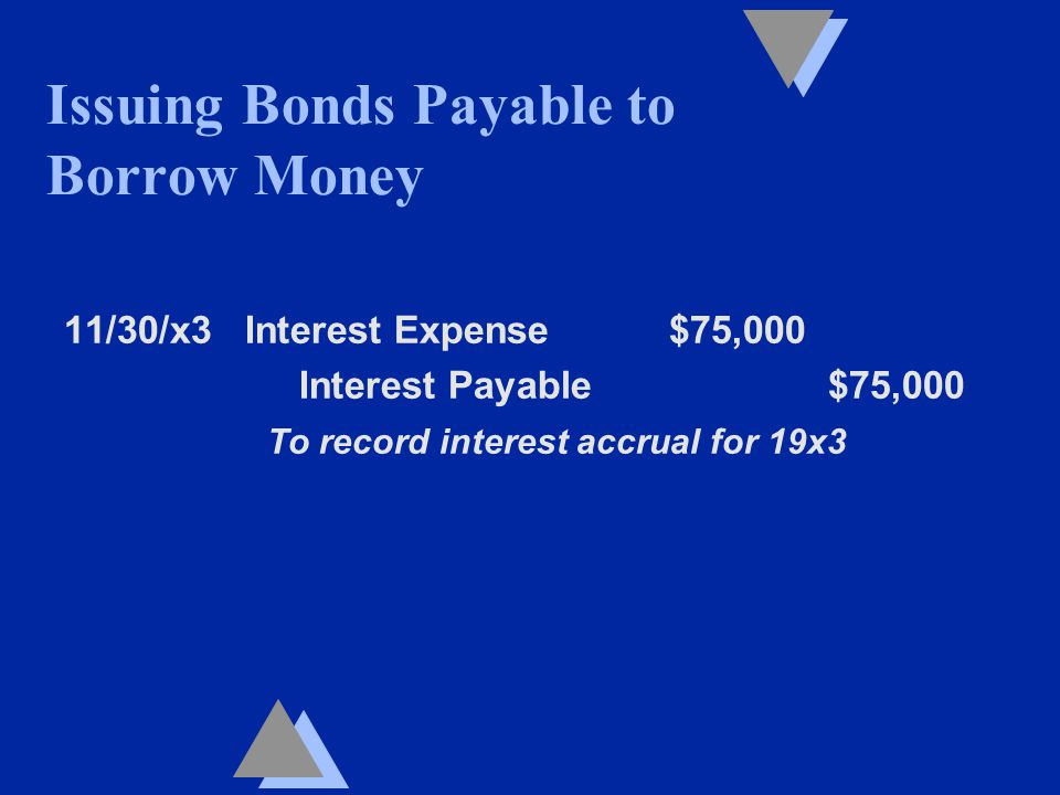 11/30/x3 Interest Expense $75,000 Interest Payable $75,000 To record interest accrual for 19x3 Issuing Bonds Payable to Borrow Money