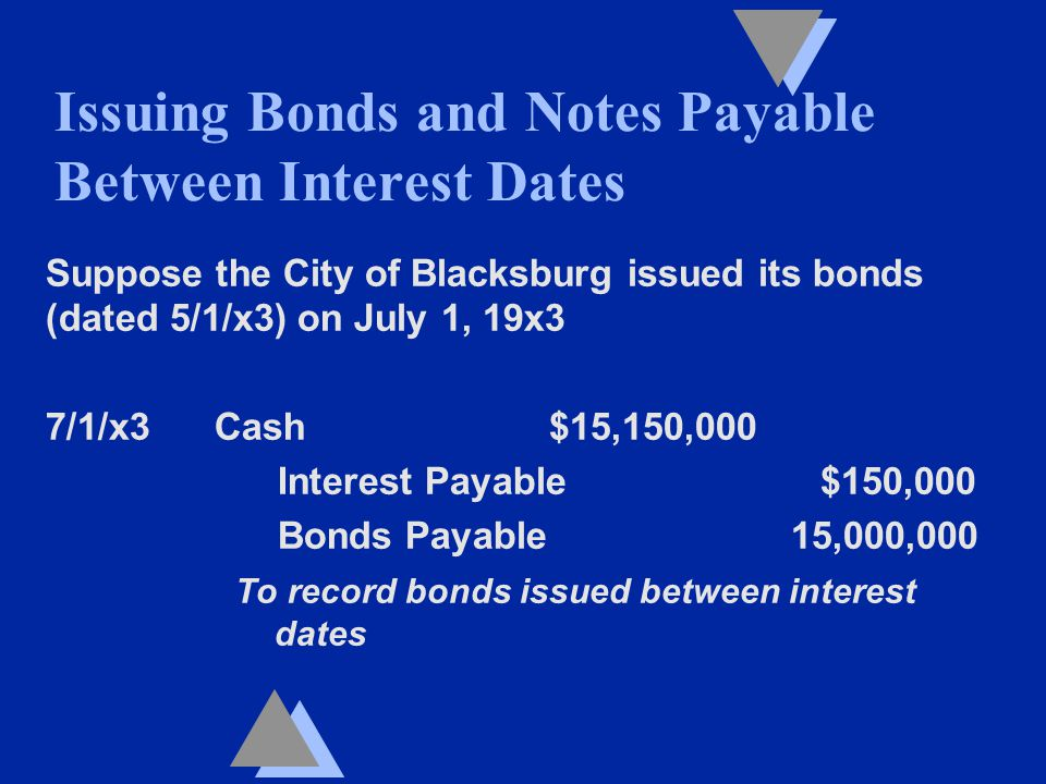 Suppose the City of Blacksburg issued its bonds (dated 5/1/x3) on July 1, 19x3 7/1/x3 Cash $15,150,000 Interest Payable $150,000 Bonds Payable 15,000,000 To record bonds issued between interest dates Issuing Bonds and Notes Payable Between Interest Dates