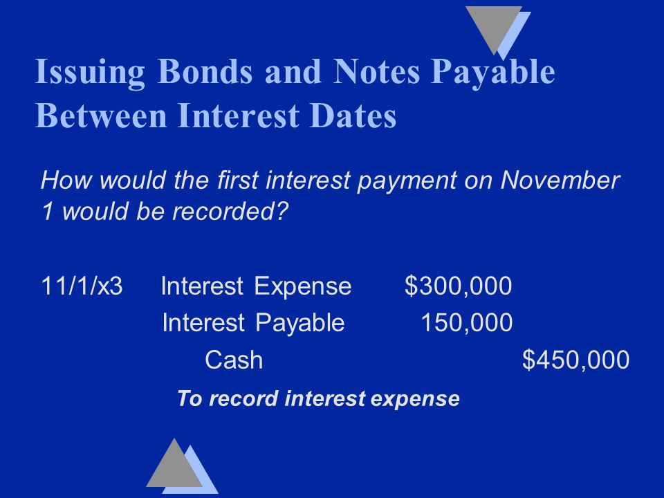 How would the first interest payment on November 1 would be recorded.