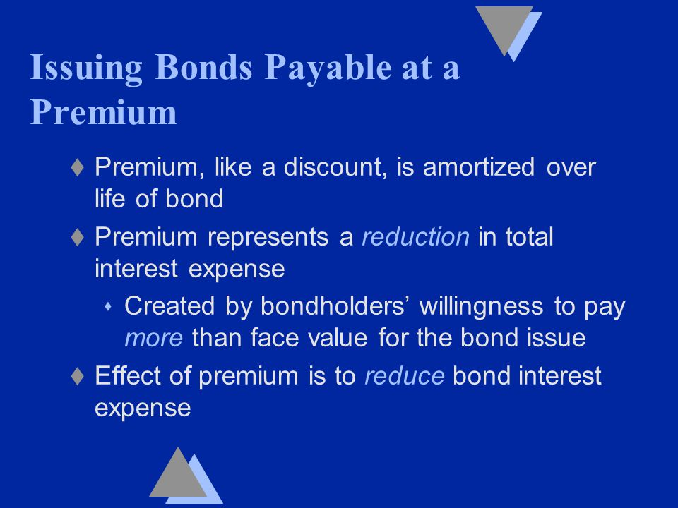 t Premium, like a discount, is amortized over life of bond t Premium represents a reduction in total interest expense s Created by bondholders' willingness to pay more than face value for the bond issue t Effect of premium is to reduce bond interest expense