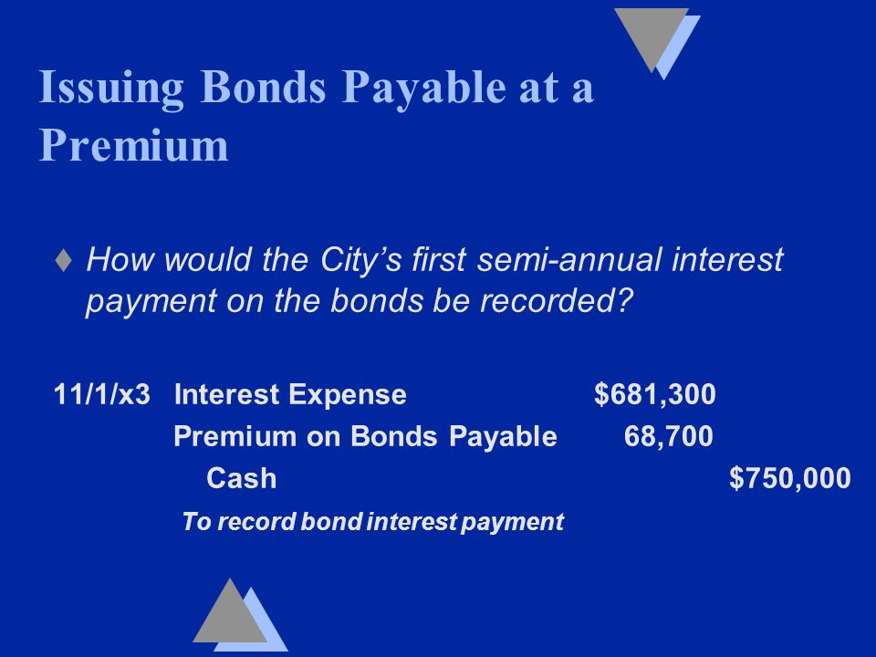 t How would the City's first semi-annual interest payment on the bonds be recorded.