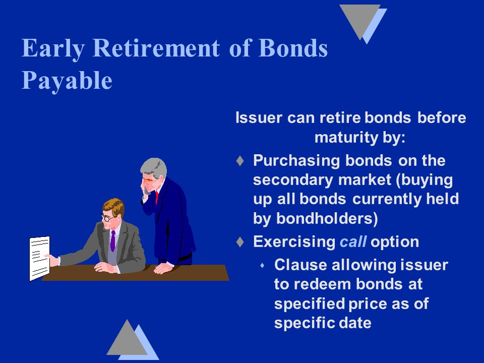 Issuer can retire bonds before maturity by: t Purchasing bonds on the secondary market (buying up all bonds currently held by bondholders) t Exercising call option s Clause allowing issuer to redeem bonds at specified price as of specific date Early Retirement of Bonds Payable