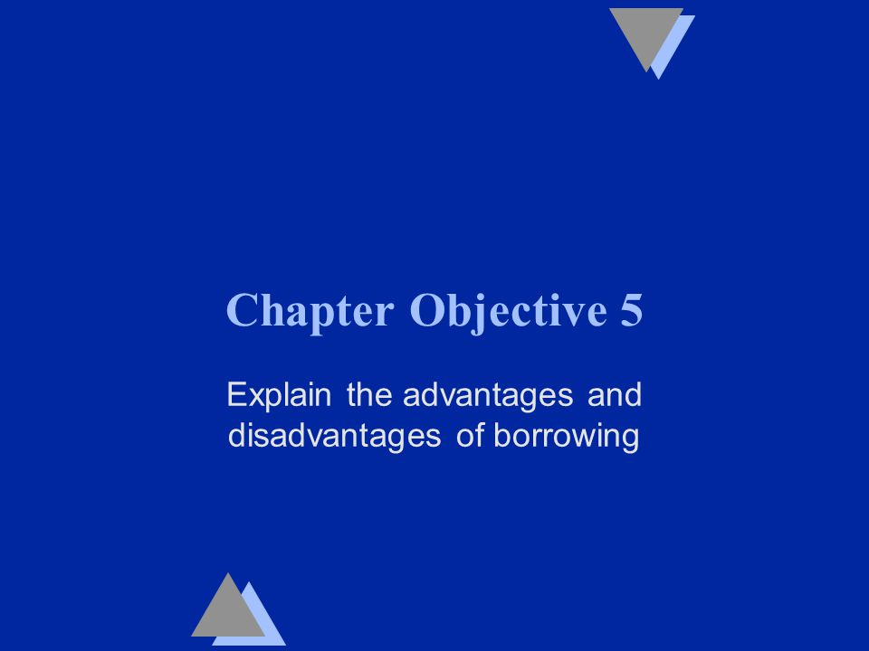 Chapter Objective 5 Explain the advantages and disadvantages of borrowing