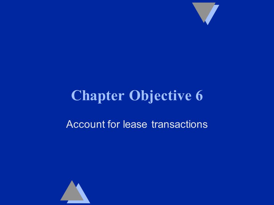 Chapter Objective 6 Account for lease transactions