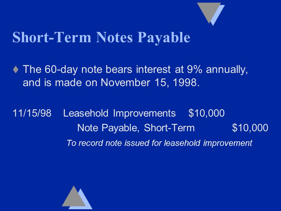 Short-Term Notes Payable t The 60-day note bears interest at 9% annually, and is made on November 15, 1998.