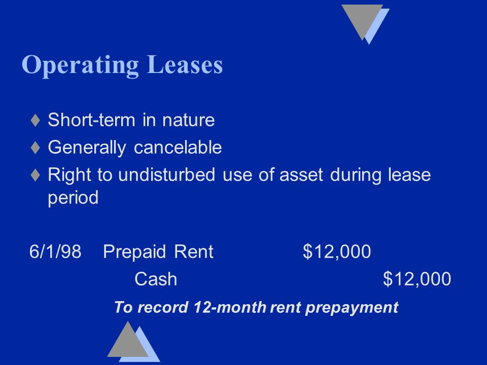 Operating Leases t Short-term in nature t Generally cancelable t Right to undisturbed use of asset during lease period 6/1/98 Prepaid Rent $12,000 Cash $12,000 To record 12-month rent prepayment