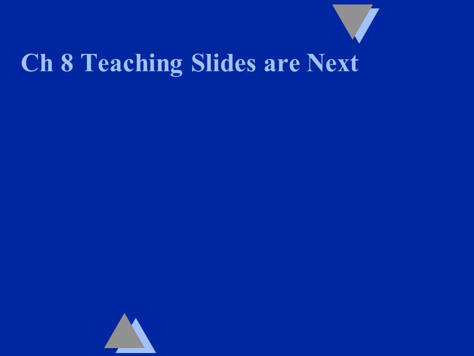 Ch 8 Teaching Slides are Next