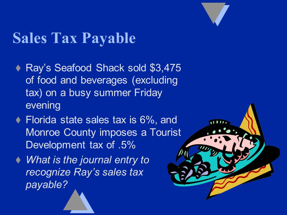 Sales Tax Payable t Ray's Seafood Shack sold $3,475 of food and beverages (excluding tax) on a busy summer Friday evening t Florida state sales tax is 6%, and Monroe County imposes a Tourist Development tax of.5% t What is the journal entry to recognize Ray's sales tax payable