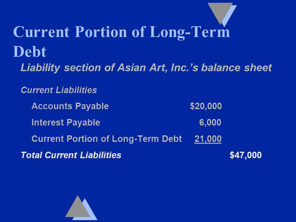 Liability section of Asian Art, Inc.'s balance sheet Current Liabilities Accounts Payable $20,000 Interest Payable 6,000 Current Portion of Long-Term Debt 21,000 Total Current Liabilities $47,000 Current Portion of Long-Term Debt