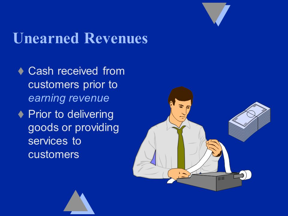 Unearned Revenues t Cash received from customers prior to earning revenue t Prior to delivering goods or providing services to customers