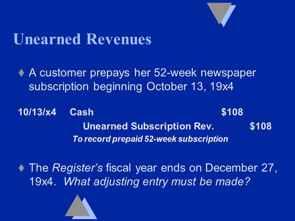 Unearned Revenues t A customer prepays her 52-week newspaper subscription beginning October 13, 19x4 10/13/x4 Cash $108 Unearned Subscription Rev.