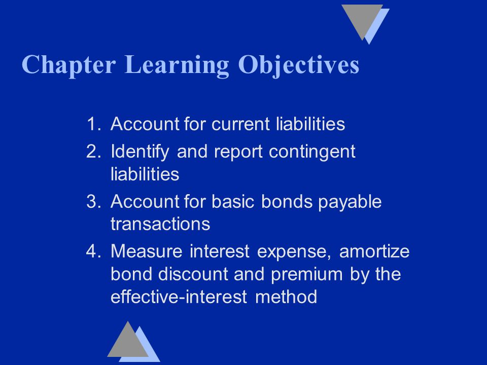 Chapter Learning Objectives 1.Account for current liabilities 2.Identify and report contingent liabilities 3.Account for basic bonds payable transactions 4.Measure interest expense, amortize bond discount and premium by the effective-interest method