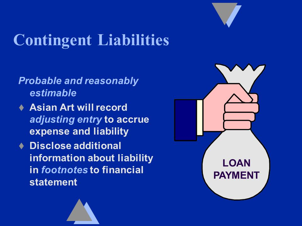 Contingent Liabilities Probable and reasonably estimable t Asian Art will record adjusting entry to accrue expense and liability t Disclose additional information about liability in footnotes to financial statement LOAN PAYMENT