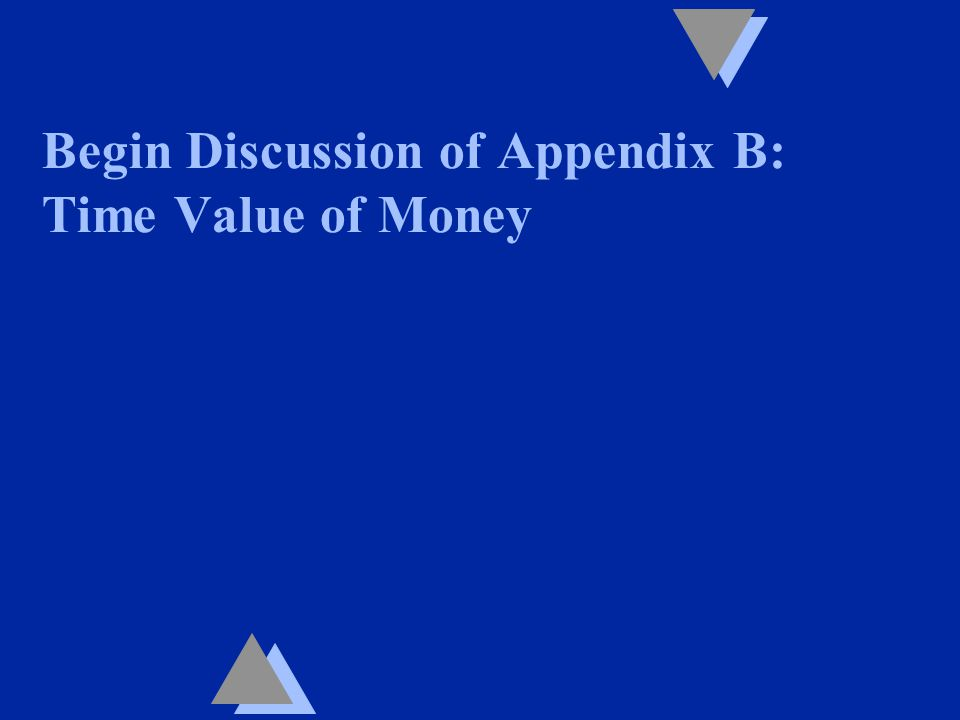 Begin Discussion of Appendix B: Time Value of Money