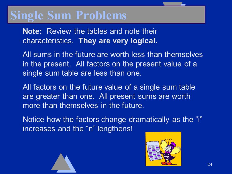 24 Single Sum Problems Note: Review the tables and note their characteristics.