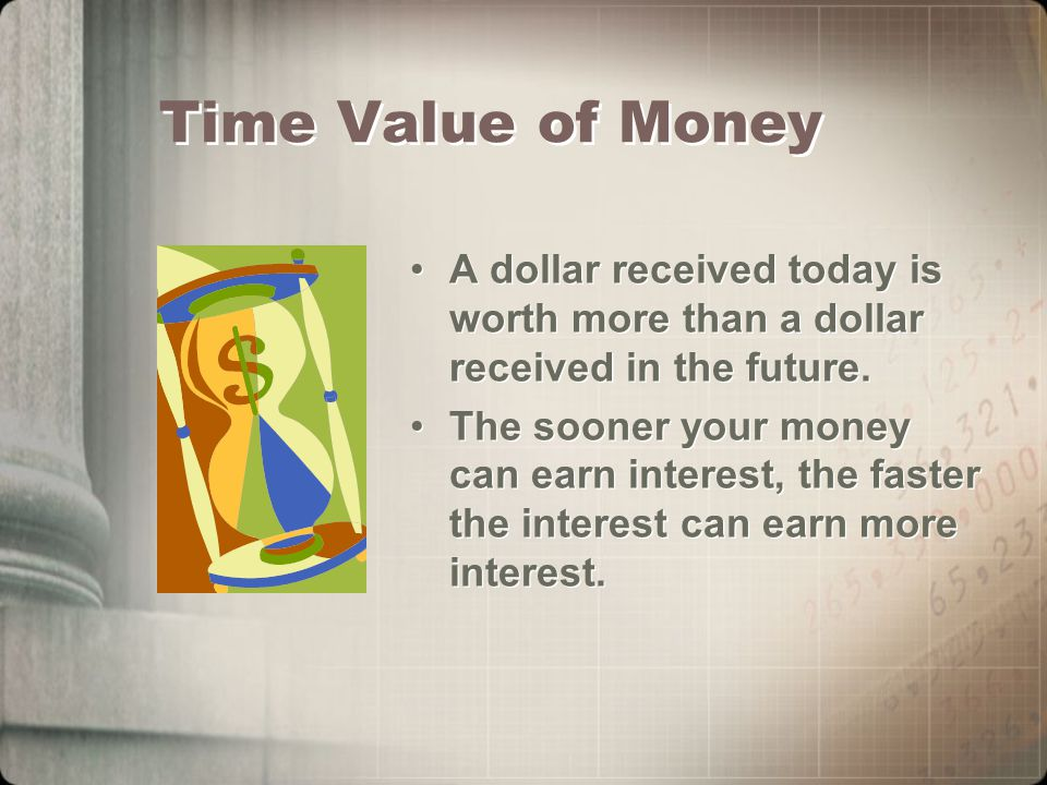 Time Value of Money A dollar received today is worth more than a dollar received in the future.