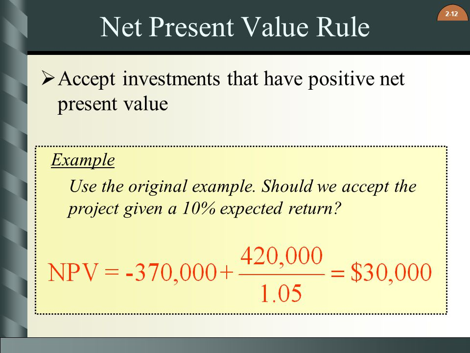 2-12 Net Present Value Rule  Accept investments that have positive net present value Example Use the original example. Should we accept the project g