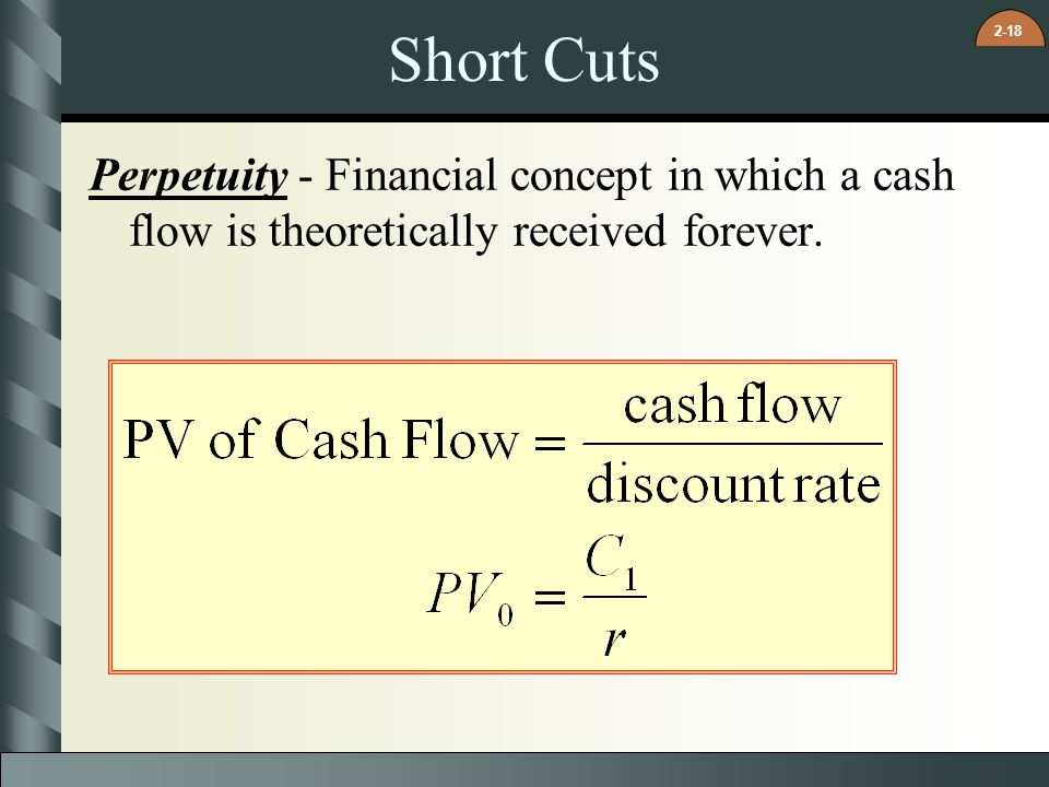2-18 Short Cuts Perpetuity - Financial concept in which a cash flow is theoretically received forever.