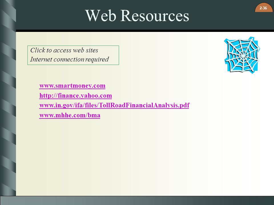 2-36 Web Resources Click to access web sites Internet connection required www.smartmoney.com http://finance.yahoo.com www.in.gov/ifa/files/TollRoadFin