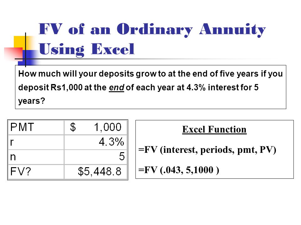 FV of an Ordinary Annuity Using Excel Excel Function =FV (interest, periods, pmt, PV) =FV (.043, 5,1000 ) How much will your deposits grow to at the end of five years if you deposit Rs1,000 at the end of each year at 4.3% interest for 5 years