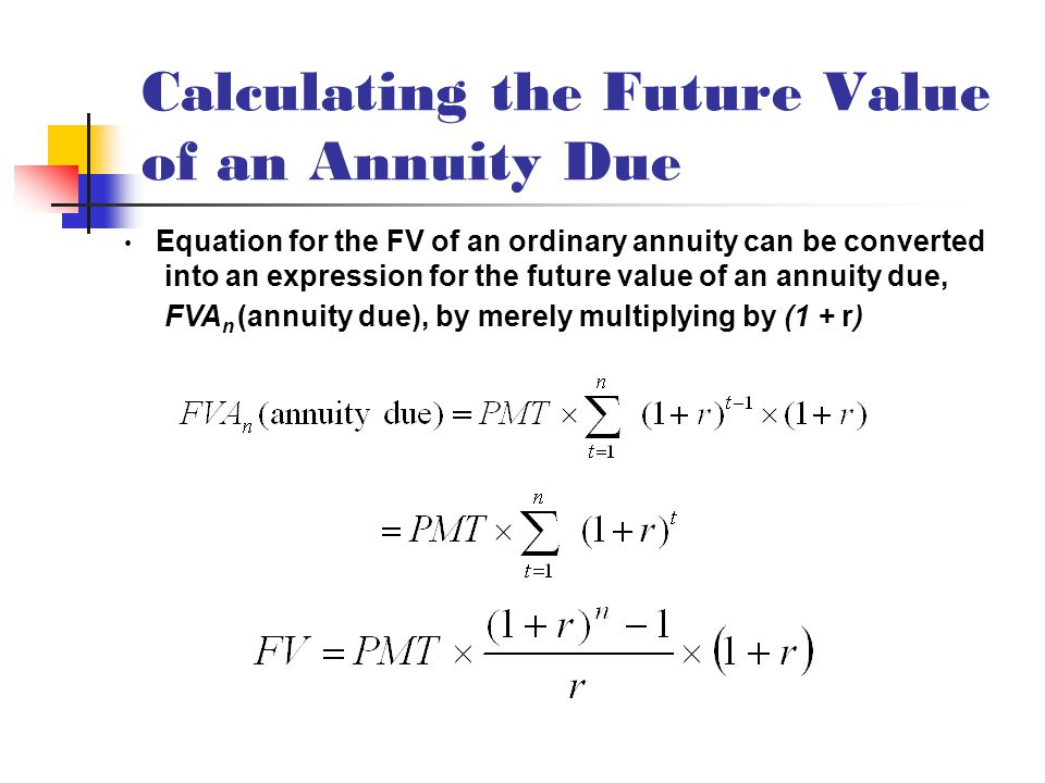 Calculating the Future Value of an Annuity Due Equation for the FV of an ordinary annuity can be converted into an expression for the future value of an annuity due, FVA n (annuity due), by merely multiplying by (1 + r)
