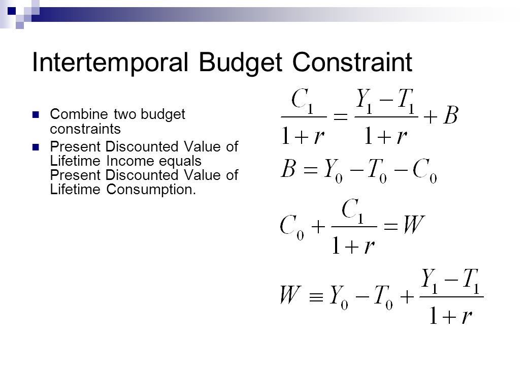 Intertemporal Budget Constraint Combine two budget constraints Present Discounted Value of Lifetime Income equals Present Discounted Value of Lifetime Consumption.