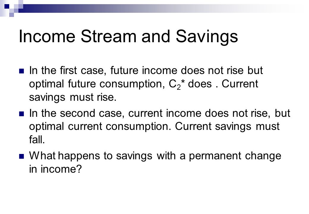Income Stream and Savings In the first case, future income does not rise but optimal future consumption, C 2 * does.