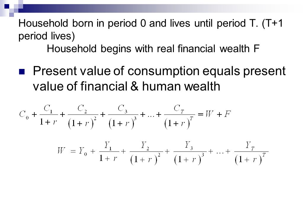 Household born in period 0 and lives until period T.