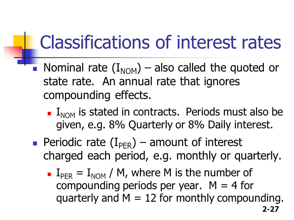 2-27 Classifications of interest rates Nominal rate (I NOM ) – also called the quoted or state rate.