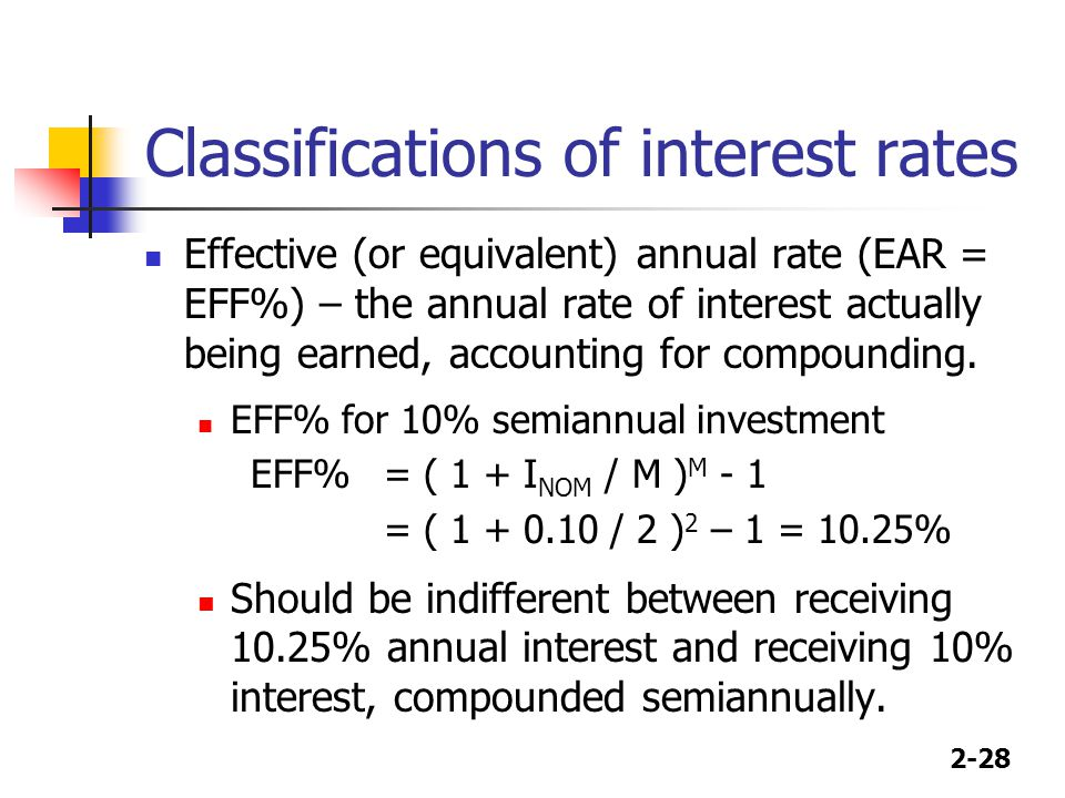 2-28 Classifications of interest rates Effective (or equivalent) annual rate (EAR = EFF%) – the annual rate of interest actually being earned, accounting for compounding.