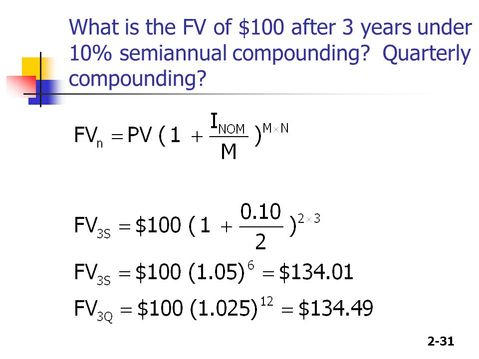 2-31 What is the FV of $100 after 3 years under 10% semiannual compounding Quarterly compounding