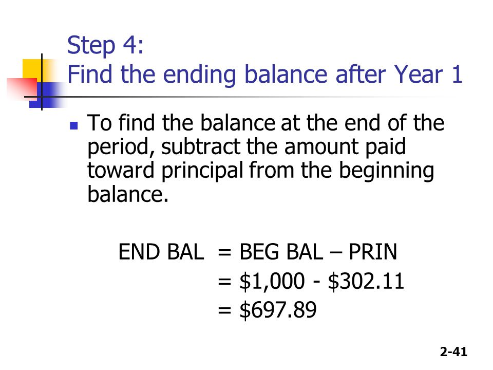 2-41 Step 4: Find the ending balance after Year 1 To find the balance at the end of the period, subtract the amount paid toward principal from the beginning balance.