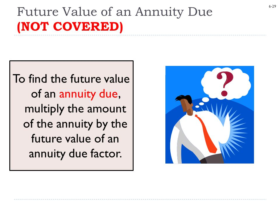 6-29 Future Value of an Annuity Due (NOT COVERED) To find the future value of an annuity due, multiply the amount of the annuity by the future value of an annuity due factor.
