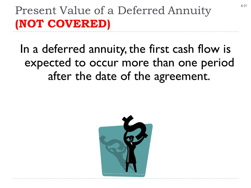 6-31 Present Value of a Deferred Annuity (NOT COVERED) In a deferred annuity, the first cash flow is expected to occur more than one period after the date of the agreement.