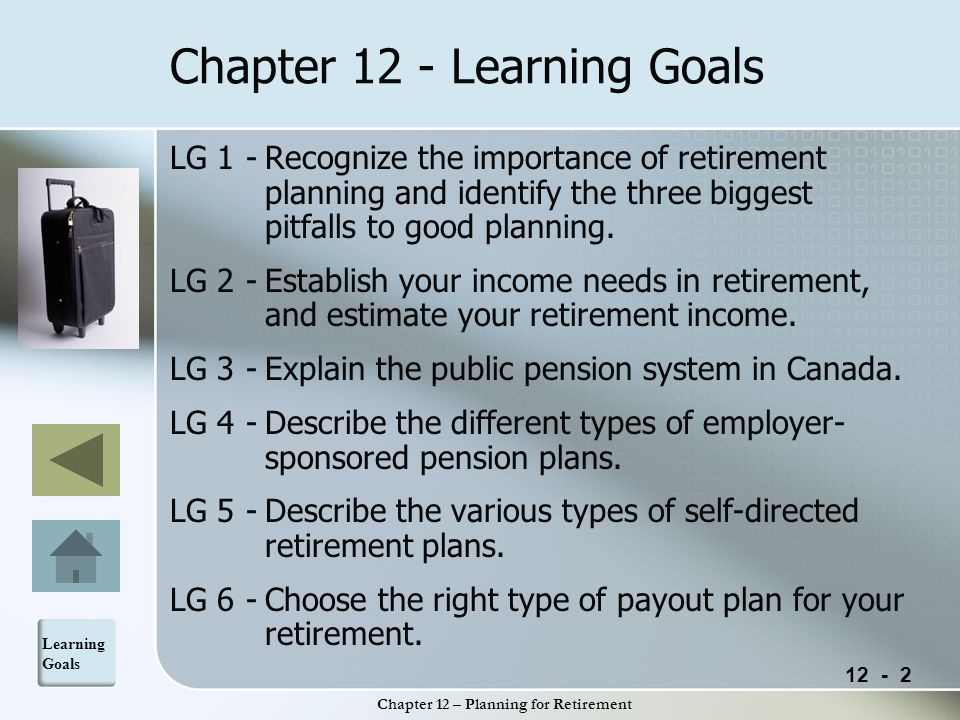 12 - 3 Chapter 12 – Planning for Retirement Internet Links and On-Line Resources Life Expectancy Calculator at Dinkytown.Life Expectancy Calculator Canada Online Retirement Finances site includes articles and resources on key topics affecting retirement plans.Canada Online Retirement Finances Services Canada comprehensive retirement income calculator.Services Canada Social Development Canada website for more information concerning the Canada Pension Plan.Social Development Canada See your Statement of Contributions to the Canada Pension Plan at Social Development Website.Statement of Contributions to the Canada Pension Plan Retirement planning and pension decisions information on the Investor Education Fund Website.Investor Education Fund Website A good introduction to annuities from Hughes Trustco Group Ltd.Hughes Trustco Group Ltd Loan calculator at Dinkytown to calculate the size of the payment you will need to create a certain monthly annuity payment.Dinkytown Web Links