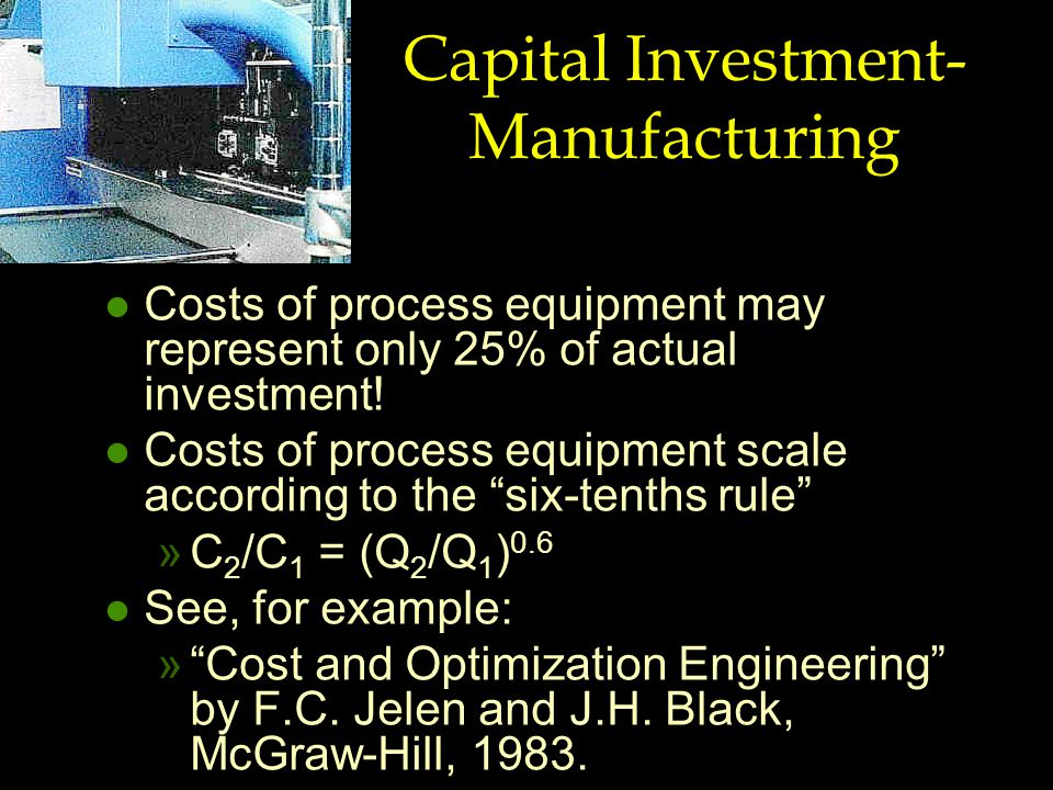 Capital Investment- Manufacturing l Costs of process equipment may represent only 25% of actual investment.