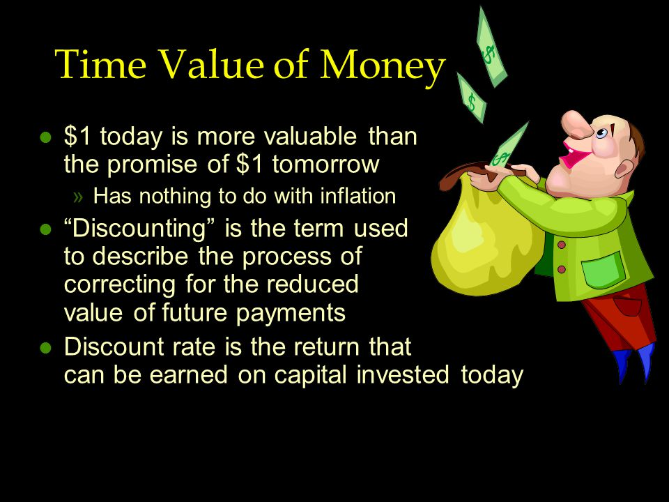 Time Value of Money l $1 today is more valuable than the promise of $1 tomorrow »Has nothing to do with inflation l Discounting is the term used to describe the process of correcting for the reduced value of future payments l Discount rate is the return that can be earned on capital invested today