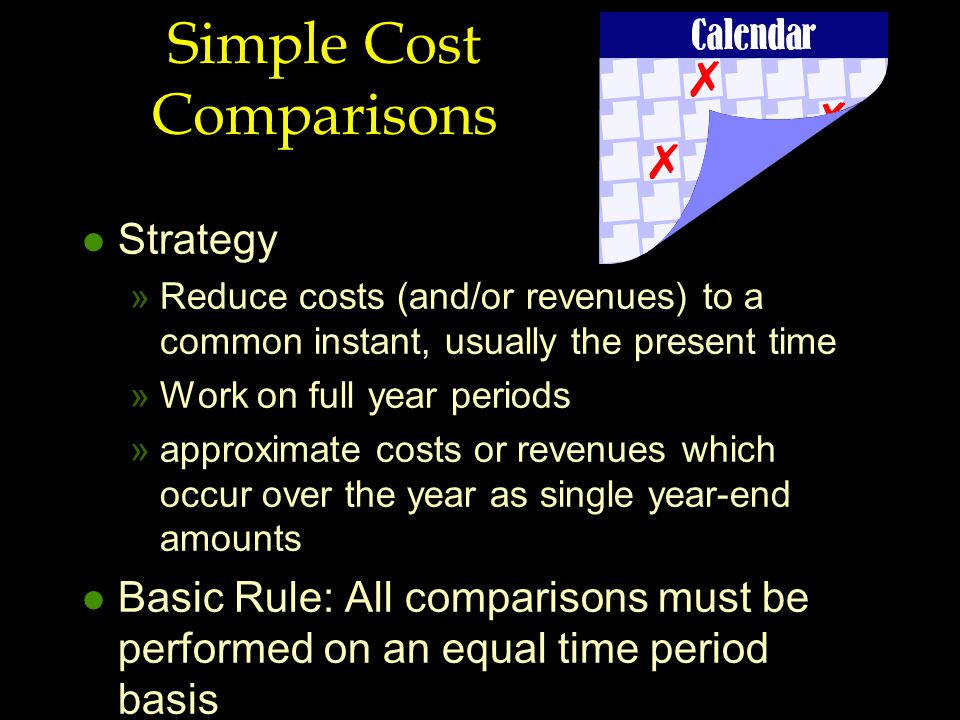 Simple Cost Comparisons l Strategy »Reduce costs (and/or revenues) to a common instant, usually the present time »Work on full year periods »approxima