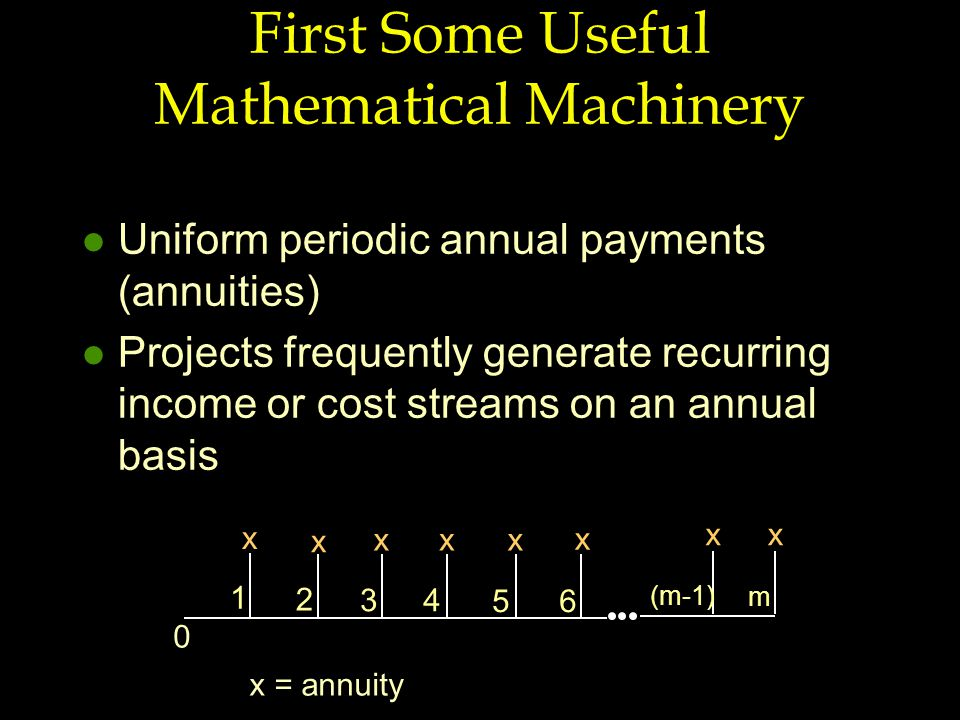 First Some Useful Mathematical Machinery l Uniform periodic annual payments (annuities) l Projects frequently generate recurring income or cost streams on an annual basis 1 65 43 2 (m-1) m 0 x x xxx x xx x = annuity
