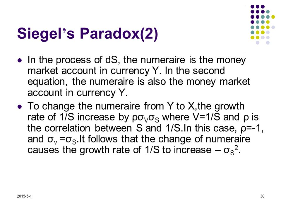 2015-5-136 Siegel ' s Paradox(2) In the process of dS, the numeraire is the money market account in currency Y. In the second equation, the numeraire