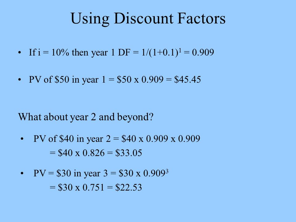 Using Discount Factors If i = 10% then year 1 DF = 1/(1+0.1) 1 = 0.909 PV of $50 in year 1 = $50 x 0.909 = $45.45 What about year 2 and beyond.