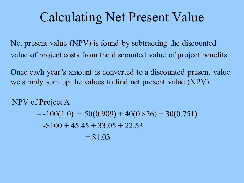 Calculating Net Present Value Net present value (NPV) is found by subtracting the discounted value of project costs from the discounted value of project benefits Once each year's amount is converted to a discounted present value we simply sum up the values to find net present value (NPV) NPV of Project A = -100(1.0) + 50(0.909) + 40(0.826) + 30(0.751) = -$100 + 45.45 + 33.05 + 22.53 = $1.03